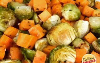 roasted sweet potatoes and brussels