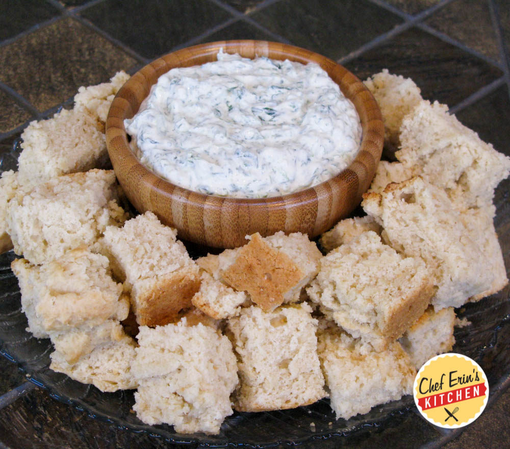 beer bread with spinach dip